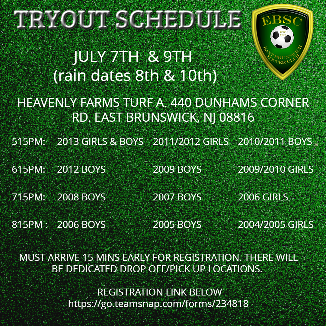EBSC 2020 Travel Tryout schedule