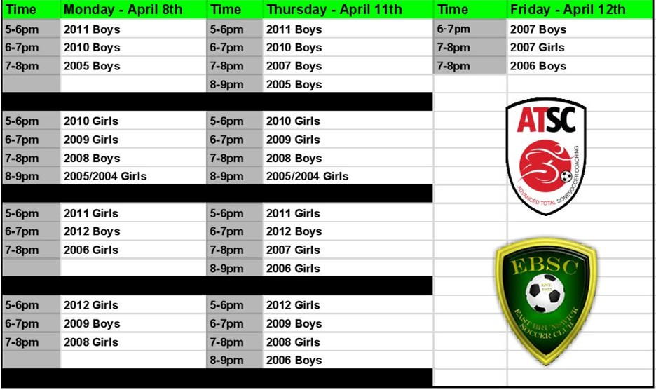 EBSC Tryout Schedule